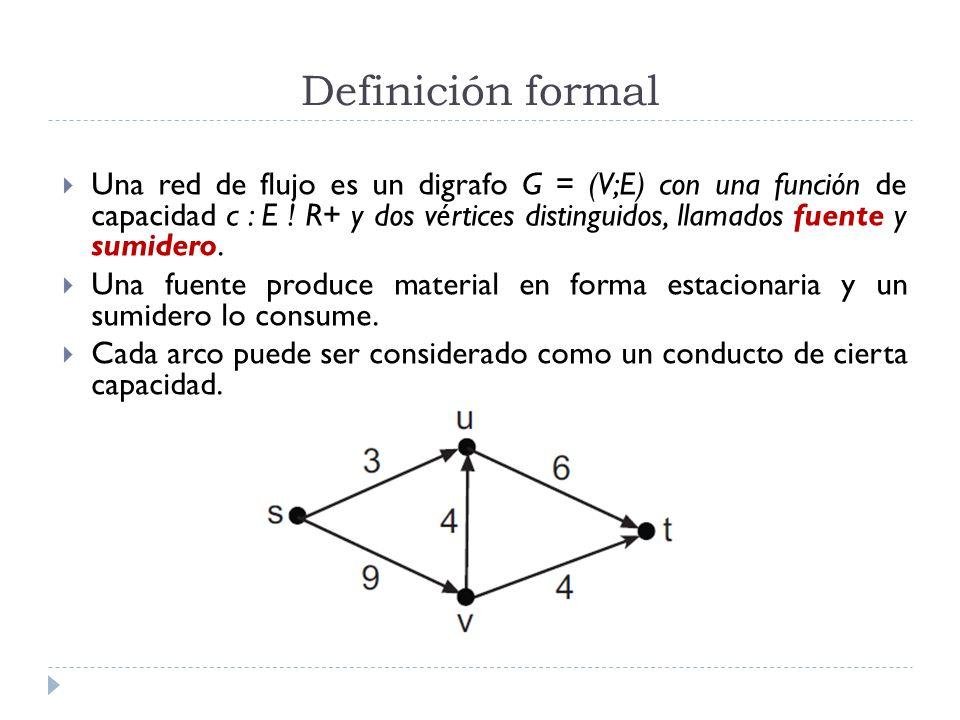 Definición formal Una red de flujo es un digrafo G = (V;E) con una función de capacidad c : E ! R+ y dos vértices distinguidos, llamados fuente y sumi