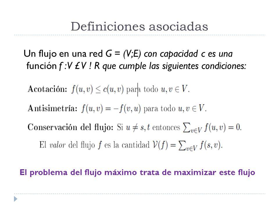 Definiciones asociadas Un flujo en una red G = (V;E) con capacidad c es una función f : V £ V ! R que cumple las siguientes condiciones: El problema d
