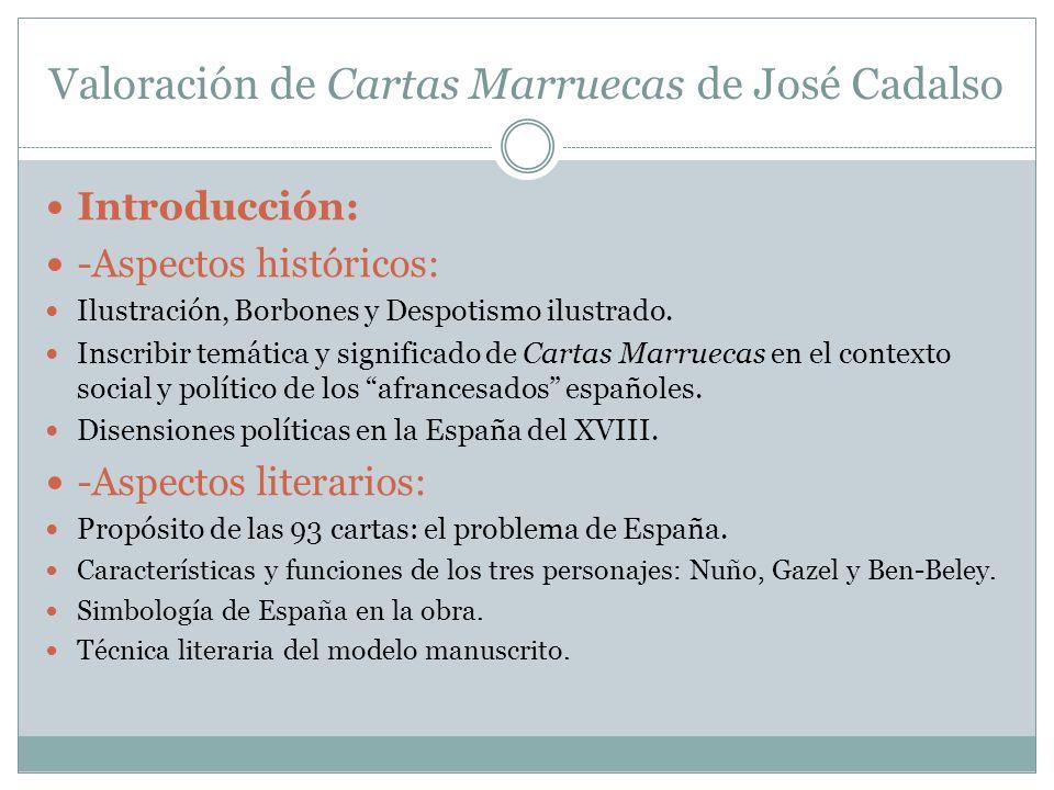 Valoración de Cartas Marruecas de José Cadalso Introducción: -Aspectos históricos: Ilustración, Borbones y Despotismo ilustrado. Inscribir temática y