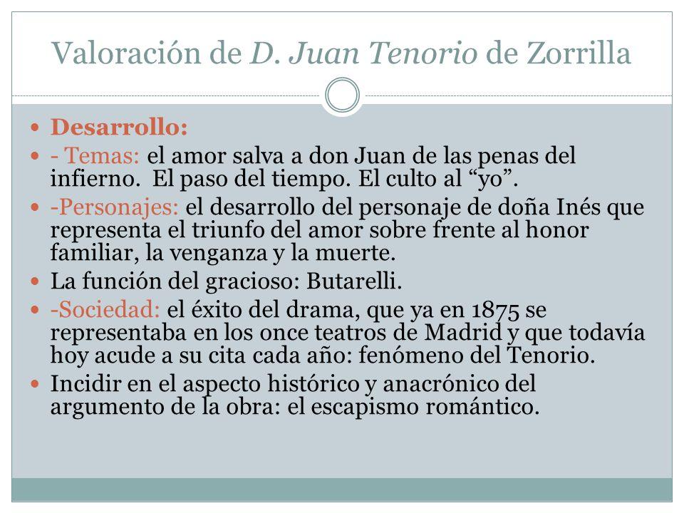 Valoración de D. Juan Tenorio de Zorrilla Desarrollo: - Temas: el amor salva a don Juan de las penas del infierno. El paso del tiempo. El culto al yo.