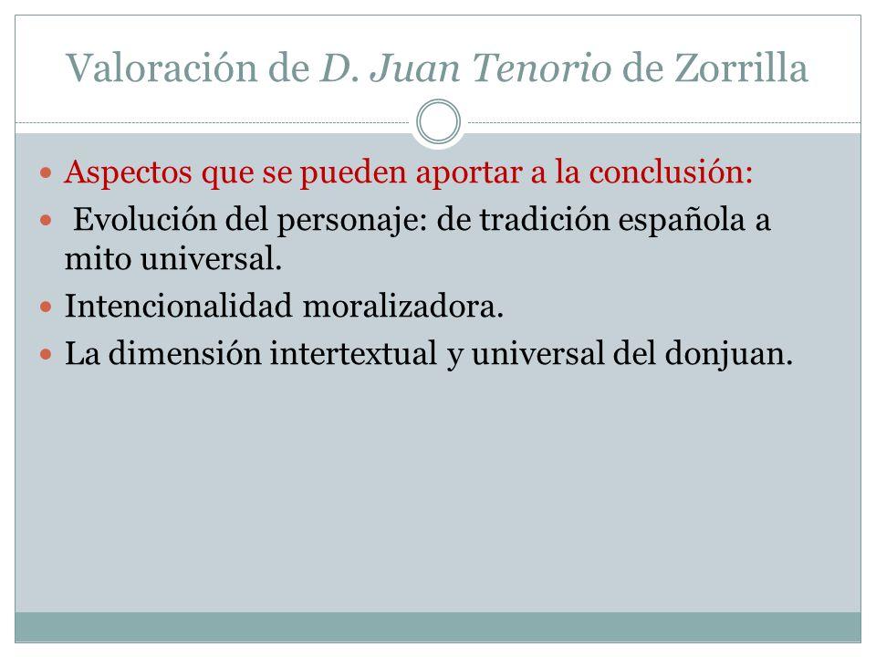 Valoración de D. Juan Tenorio de Zorrilla Aspectos que se pueden aportar a la conclusión: Evolución del personaje: de tradición española a mito univer