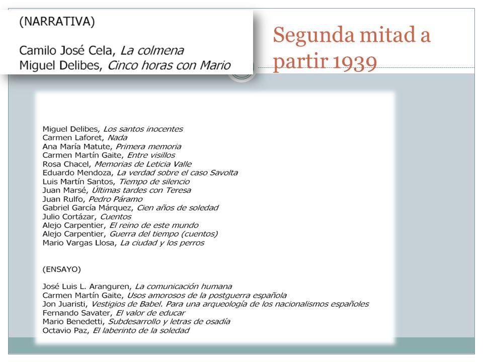 Cuestiones sobre los contenidos de Literatura española del curriculo de Bachiller 10 Tema de literatura: 2 puntos.