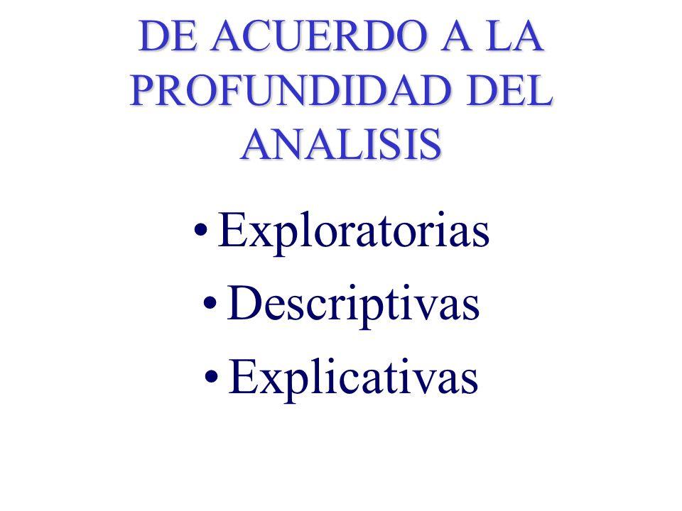 DE ACUERDO A LA PROFUNDIDAD DEL ANALISIS Exploratorias Descriptivas Explicativas