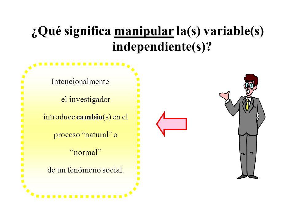 manipular ¿Qué significa manipular la(s) variable(s) independiente(s)? cambio Intencionalmente el investigador introduce cambio(s) en el proceso natur