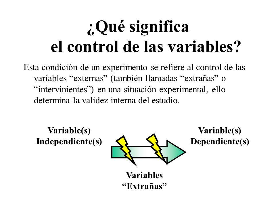 ¿Qué significa el control de las variables? Esta condición de un experimento se refiere al control de las variables externas (también llamadas extraña