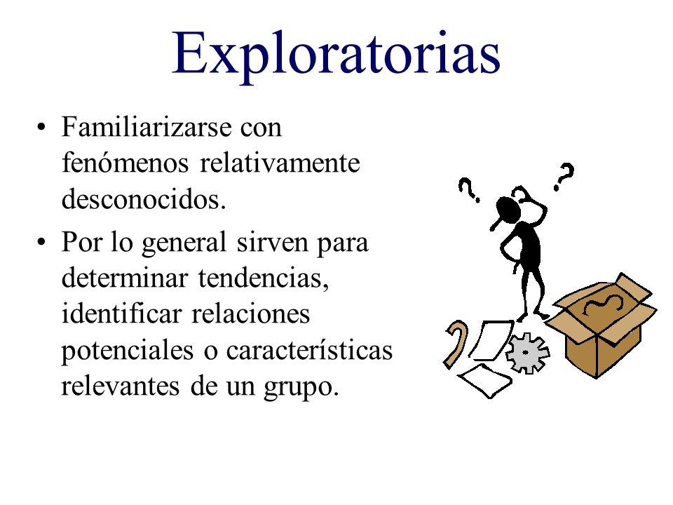 Exploratorias Familiarizarse con fenómenos relativamente desconocidos. Por lo general sirven para determinar tendencias, identificar relaciones potenc