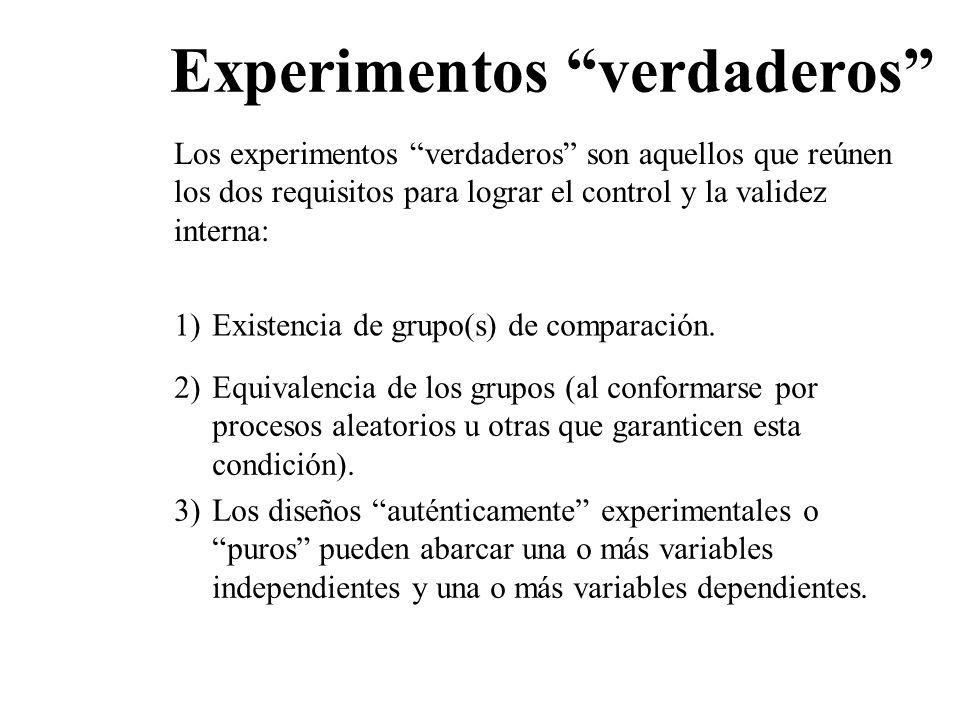 Experimentos verdaderos Los experimentos verdaderos son aquellos que reúnen los dos requisitos para lograr el control y la validez interna: 1)Existenc