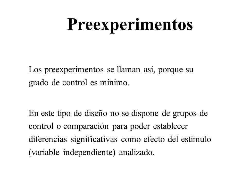 Preexperimentos Los preexperimentos se llaman así, porque su grado de control es mínimo. En este tipo de diseño no se dispone de grupos de control o c