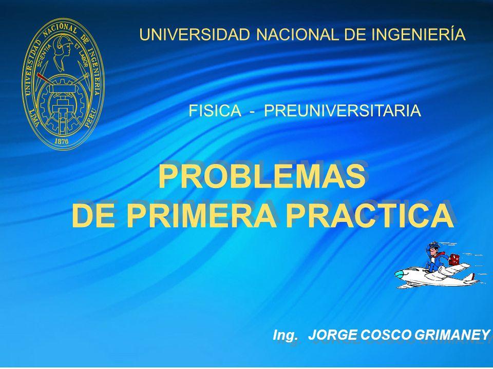 UNIVERSIDAD NACIONAL DE INGENIERÍA PROBLEMAS DE PRIMERA PRACTICA PROBLEMAS DE PRIMERA PRACTICA FISICA - PREUNIVERSITARIA Ing. JORGE COSCO GRIMANEY