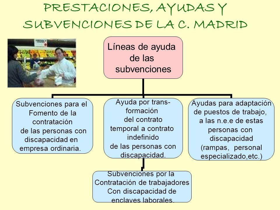 PRESTACIONES, AYUDAS Y SUBVENCIONES DE LA C. MADRID Líneas de ayuda de las subvenciones Subvenciones para el Fomento de la contratación de las persona