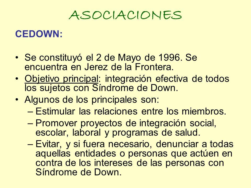 ASOCIACIONES CEDOWN: Se constituyó el 2 de Mayo de 1996. Se encuentra en Jerez de la Frontera. Objetivo principal: integración efectiva de todos los s