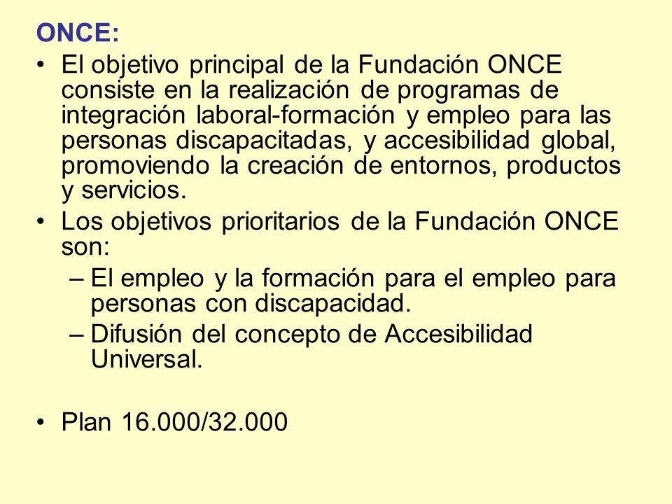 ONCE: El objetivo principal de la Fundación ONCE consiste en la realización de programas de integración laboral-formación y empleo para las personas d