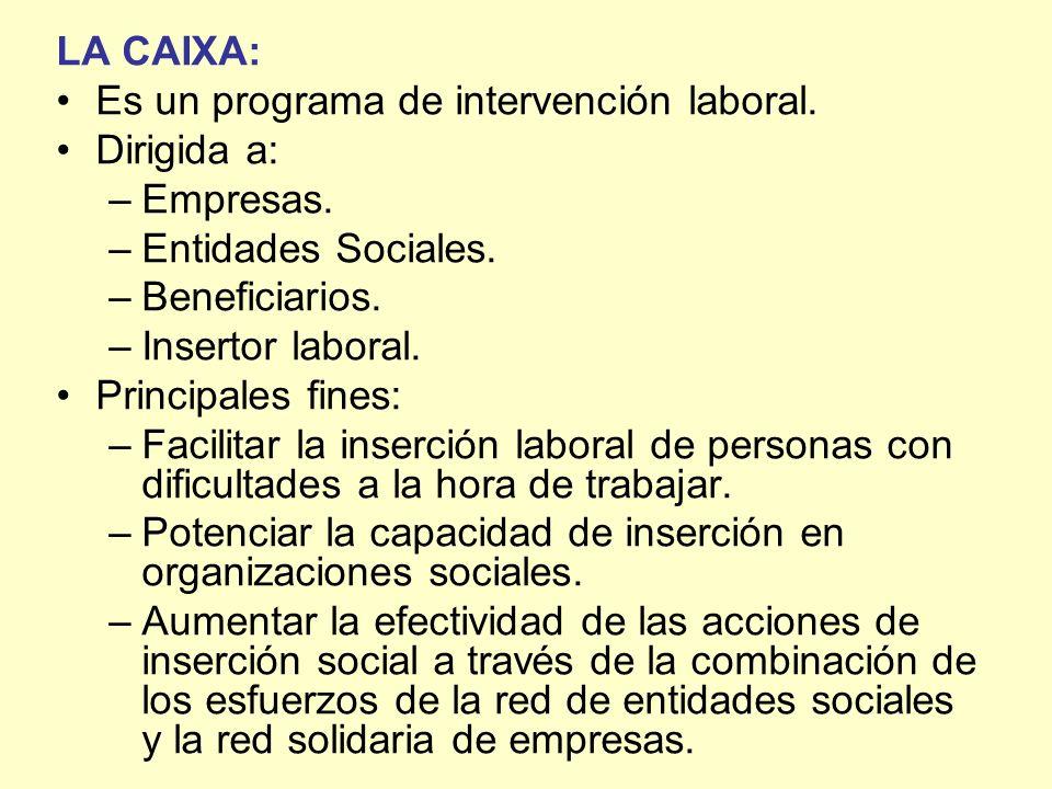 LA CAIXA: Es un programa de intervención laboral. Dirigida a: –Empresas. –Entidades Sociales. –Beneficiarios. –Insertor laboral. Principales fines: –F