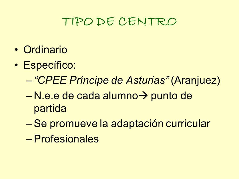 TIPO DE CENTRO Ordinario Específico: –CPEE Príncipe de Asturias (Aranjuez) –N.e.e de cada alumno punto de partida –Se promueve la adaptación curricula