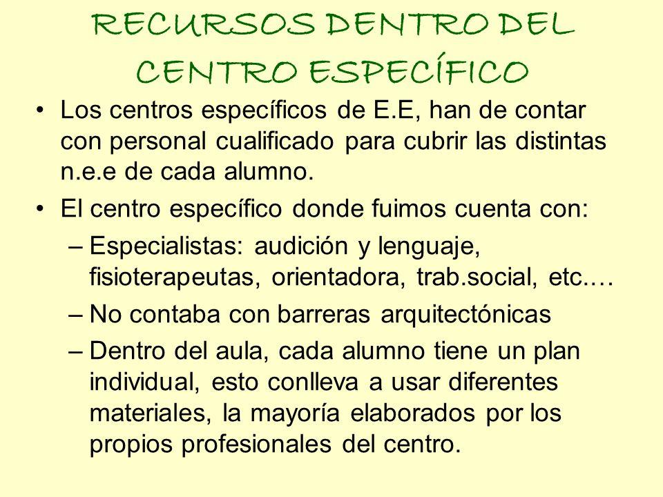RECURSOS DENTRO DEL CENTRO ESPECÍFICO Los centros específicos de E.E, han de contar con personal cualificado para cubrir las distintas n.e.e de cada a