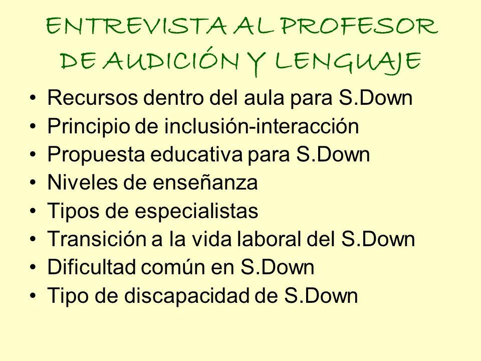 ENTREVISTA AL PROFESOR DE AUDICIÓN Y LENGUAJE Recursos dentro del aula para S.Down Principio de inclusión-interacción Propuesta educativa para S.Down