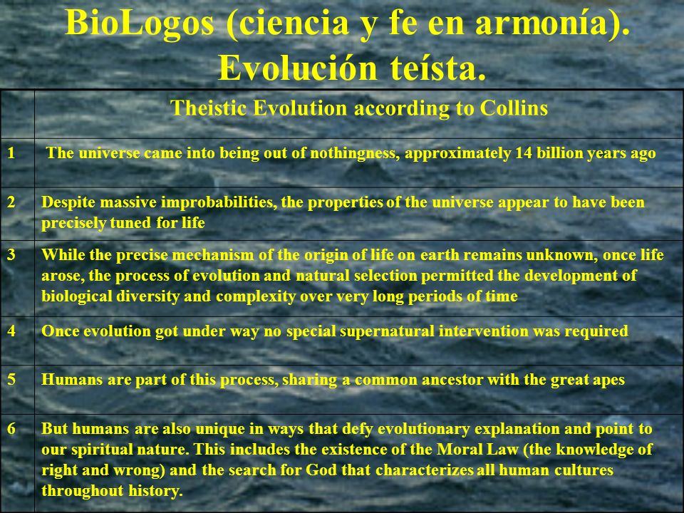 BioLogos (ciencia y fe en armonía). Evolución teísta. Theistic Evolution according to Collins 1 The universe came into being out of nothingness, appro