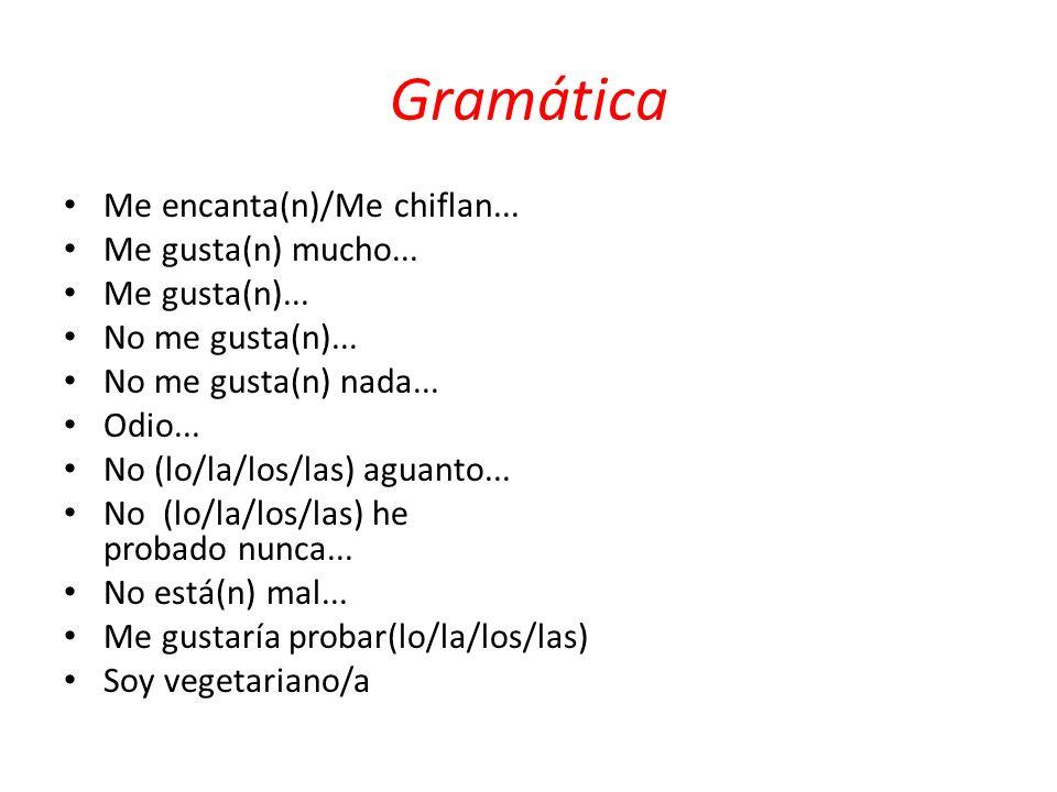 Gramática Me encanta(n)/Me chiflan... Me gusta(n) mucho... Me gusta(n)... No me gusta(n)... No me gusta(n) nada... Odio... No (lo/la/los/las) aguanto.