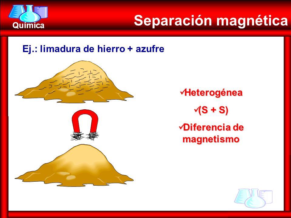 Química Separación magnética Ej.: limadura de hierro + azufre Heterogénea Heterogénea (S + S) (S + S) Diferencia de magnetismo Diferencia de magnetism