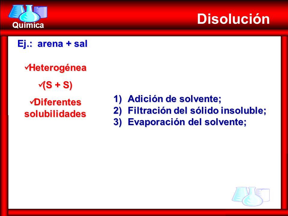 Química Heterogénea Heterogénea (S + S) (S + S) Diferentes solubilidades Diferentes solubilidades Disolución 1)Adición de solvente; 2)Filtración del s