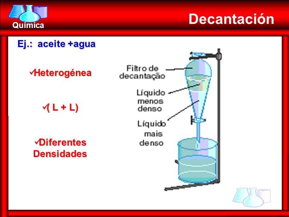 Química Decantación Ej.: aceite +agua Heterogénea Heterogénea ( L + L) ( L + L) Diferentes Densidades Diferentes Densidades