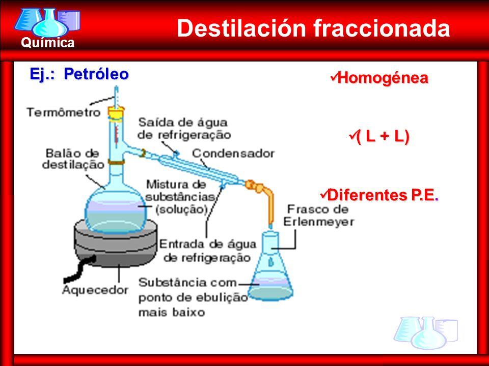Química Homogénea Homogénea ( L + L) ( L + L) Diferentes P.E. Diferentes P.E. Destilación fraccionada Ej.: Petróleo
