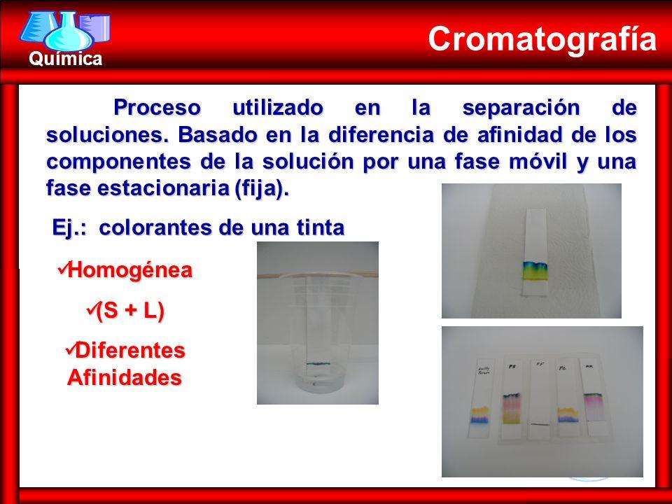 Química Homogénea Homogénea (S + L) (S + L) Diferentes Afinidades Diferentes Afinidades Cromatografía Ej.: colorantes de una tinta Proceso utilizado e