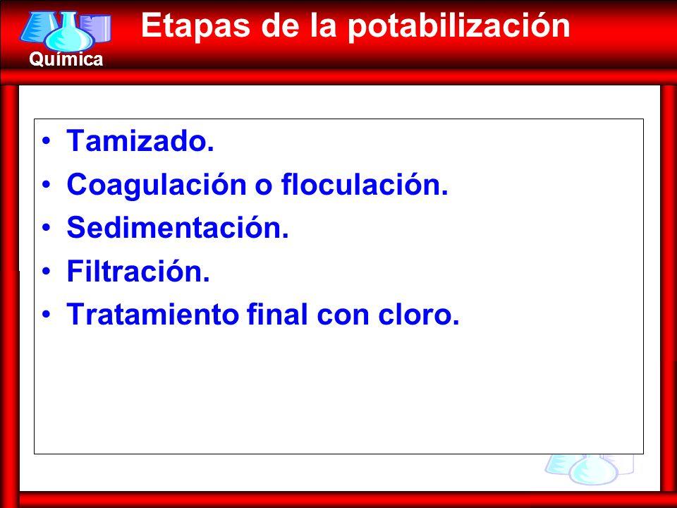 Química Tamizado. Coagulación o floculación. Sedimentación. Filtración. Tratamiento final con cloro. Etapas de la potabilización