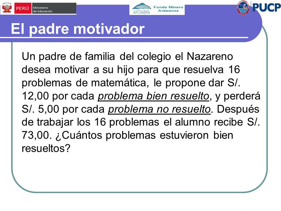 El padre motivador Un padre de familia del colegio el Nazareno desea motivar a su hijo para que resuelva 16 problemas de matemática, le propone dar S/