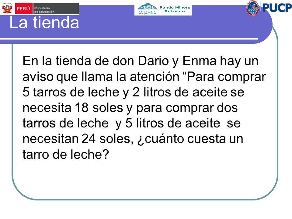 La tienda En la tienda de don Dario y Enma hay un aviso que llama la atención Para comprar 5 tarros de leche y 2 litros de aceite se necesita 18 soles