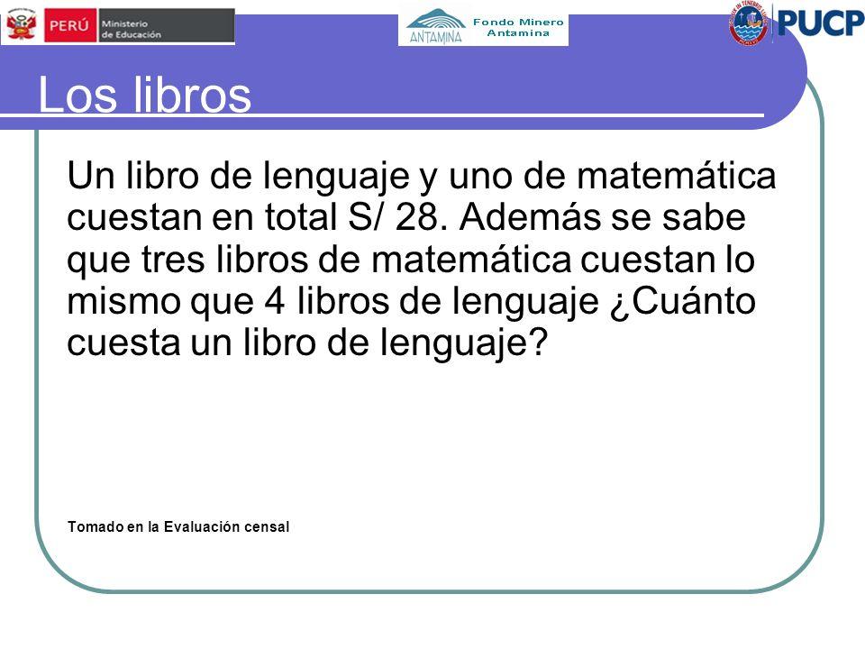 Los libros Un libro de lenguaje y uno de matemática cuestan en total S/ 28. Además se sabe que tres libros de matemática cuestan lo mismo que 4 libros