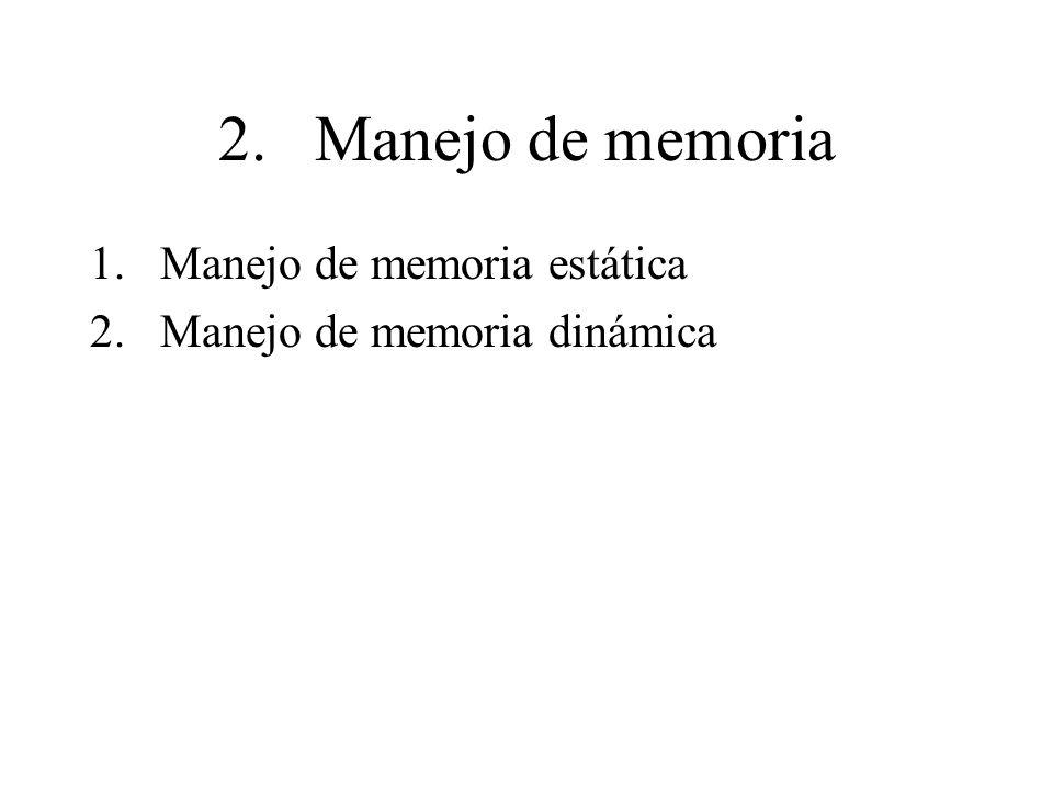 2. Manejo de memoria 1.Manejo de memoria estática 2.Manejo de memoria dinámica