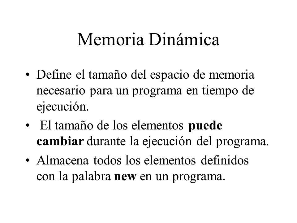Memoria Dinámica Define el tamaño del espacio de memoria necesario para un programa en tiempo de ejecución. El tamaño de los elementos puede cambiar d