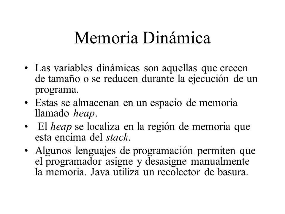 Memoria Dinámica Las variables dinámicas son aquellas que crecen de tamaño o se reducen durante la ejecución de un programa. Estas se almacenan en un