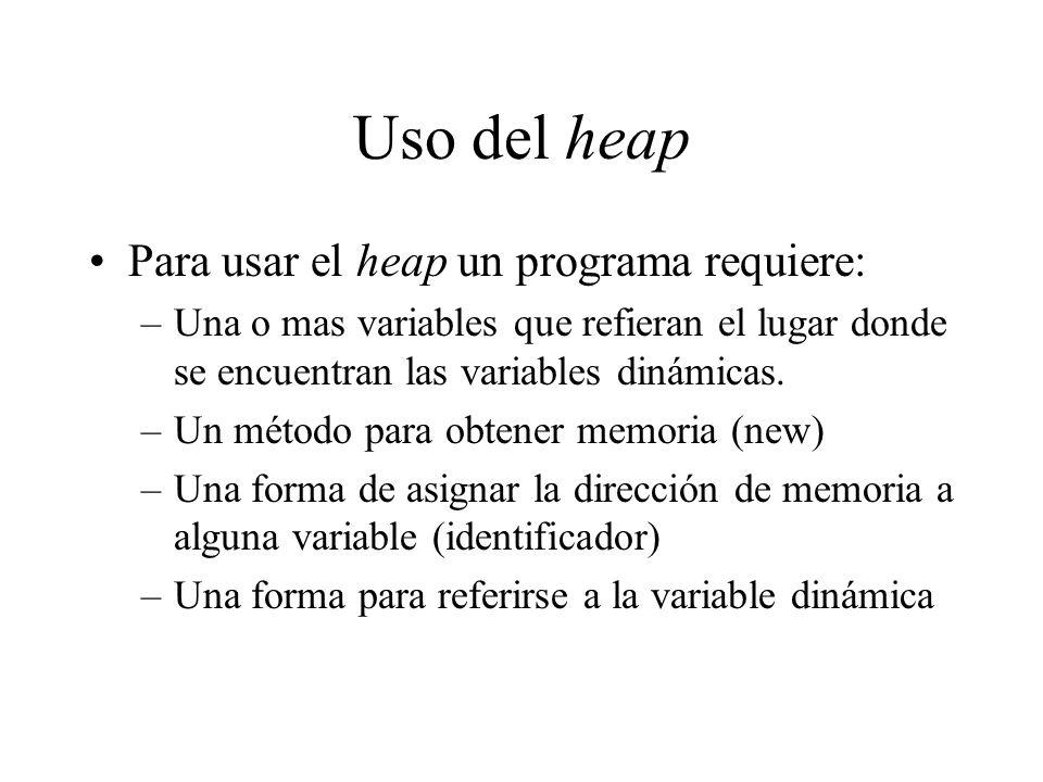 Uso del heap Para usar el heap un programa requiere: –Una o mas variables que refieran el lugar donde se encuentran las variables dinámicas. –Un métod