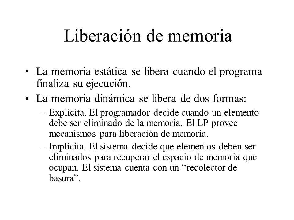 Liberación de memoria La memoria estática se libera cuando el programa finaliza su ejecución. La memoria dinámica se libera de dos formas: –Explicita.