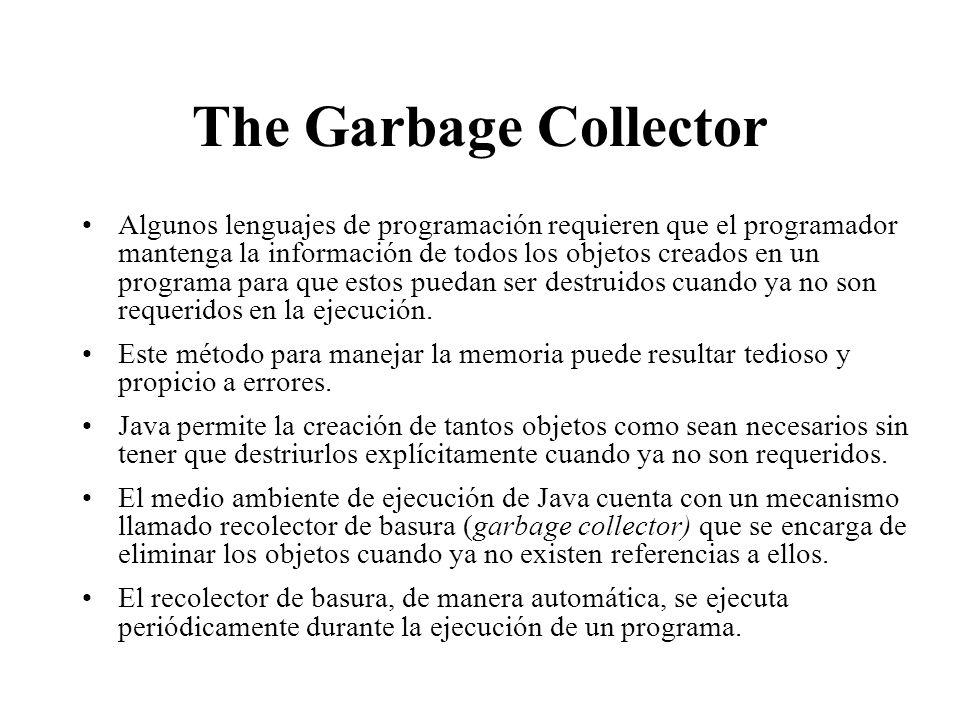 The Garbage Collector Algunos lenguajes de programación requieren que el programador mantenga la información de todos los objetos creados en un progra