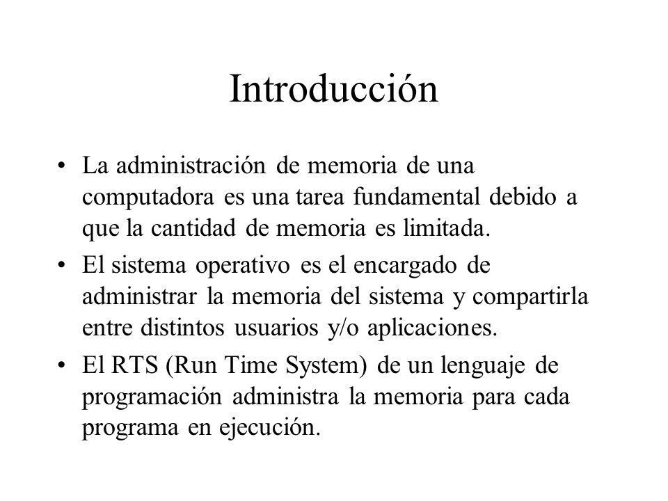 Introducción La administración de memoria de una computadora es una tarea fundamental debido a que la cantidad de memoria es limitada. El sistema oper