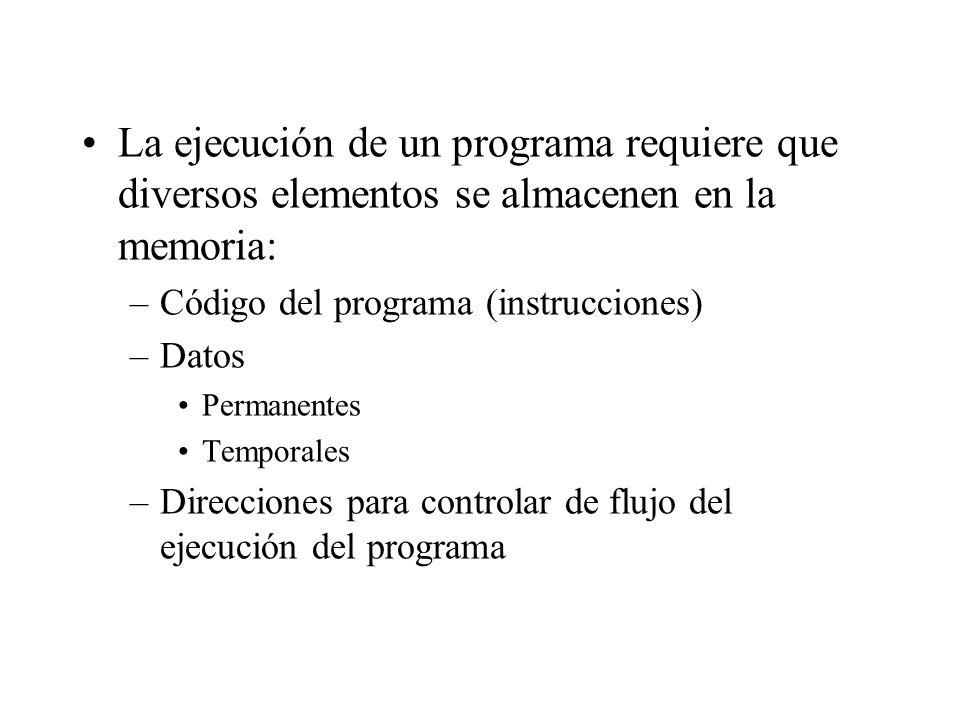 La ejecución de un programa requiere que diversos elementos se almacenen en la memoria: –Código del programa (instrucciones) –Datos Permanentes Tempor