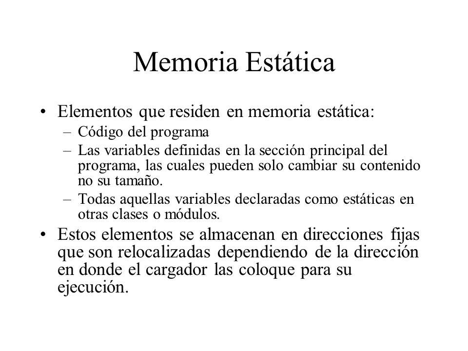 Memoria Estática Elementos que residen en memoria estática: –Código del programa –Las variables definidas en la sección principal del programa, las cu