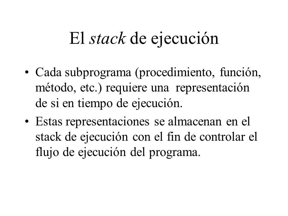 El stack de ejecución Cada subprograma (procedimiento, función, método, etc.) requiere una representación de si en tiempo de ejecución. Estas represen