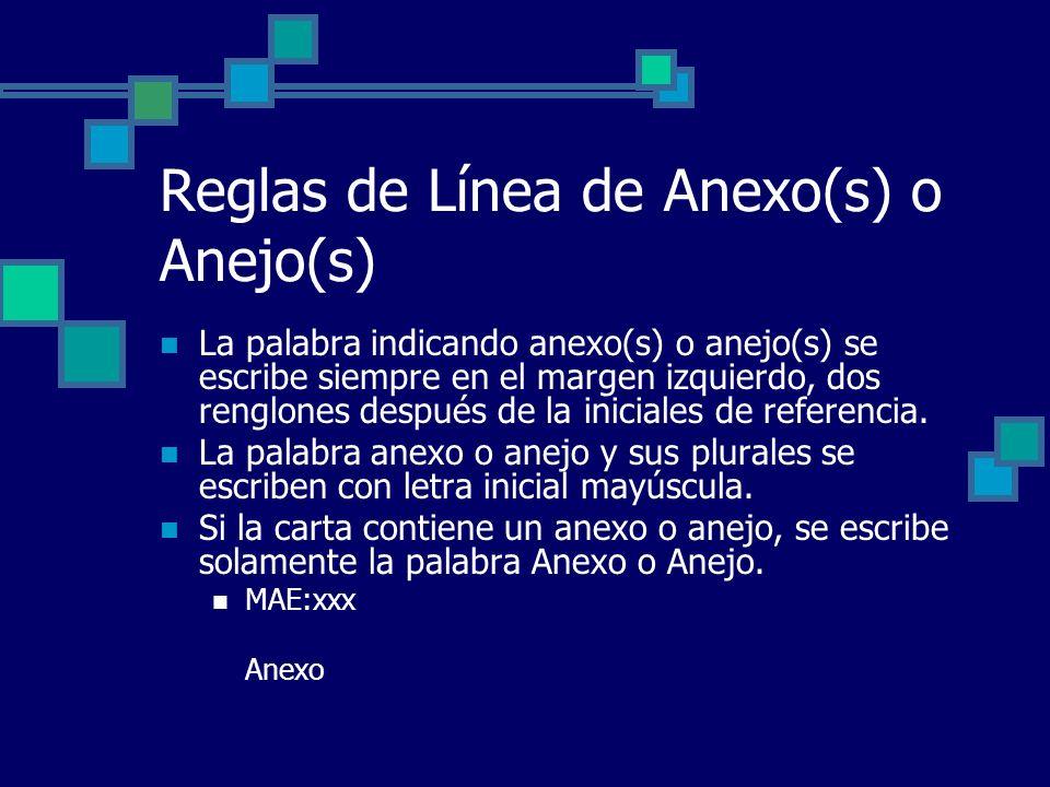 Reglas de Línea de Anexo(s) o Anejo(s) La palabra indicando anexo(s) o anejo(s) se escribe siempre en el margen izquierdo, dos renglones después de la