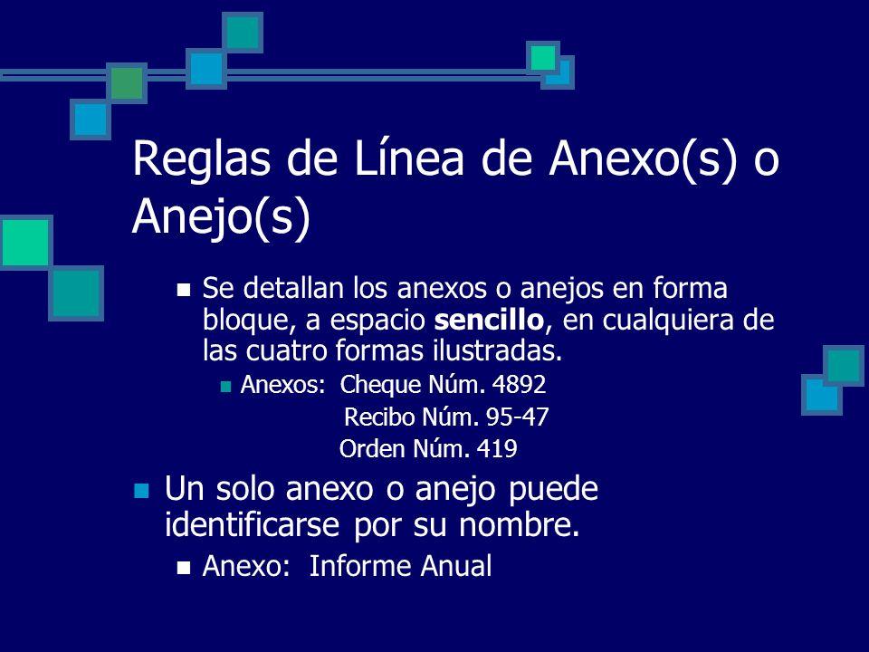 Reglas de Línea de Anexo(s) o Anejo(s) Se detallan los anexos o anejos en forma bloque, a espacio sencillo, en cualquiera de las cuatro formas ilustra