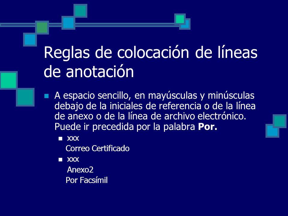 Reglas de colocación de líneas de anotación A espacio sencillo, en mayúsculas y minúsculas debajo de la iniciales de referencia o de la línea de anexo