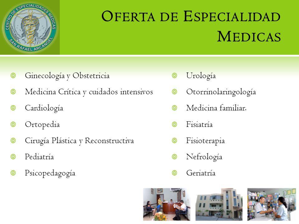O FERTA DE E SPECIALIDAD M EDICAS Urología Otorrinolaringología Medicina familiar. Fisiatría Fisioterapia Nefrología Geriatría Ginecología y Obstetric