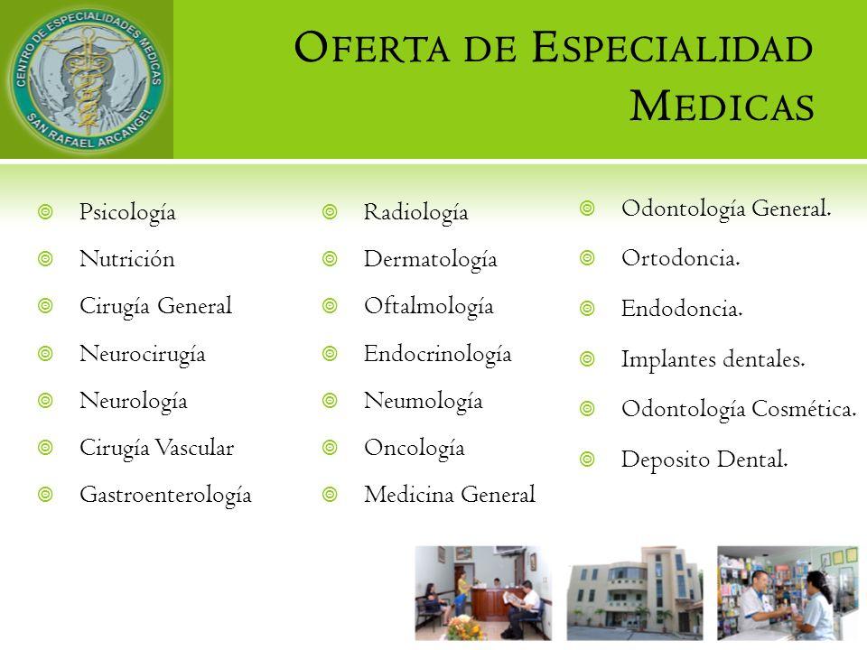O FERTA DE E SPECIALIDAD M EDICAS Psicología Nutrición Cirugía General Neurocirugía Neurología Cirugía Vascular Gastroenterología Radiología Dermatolo