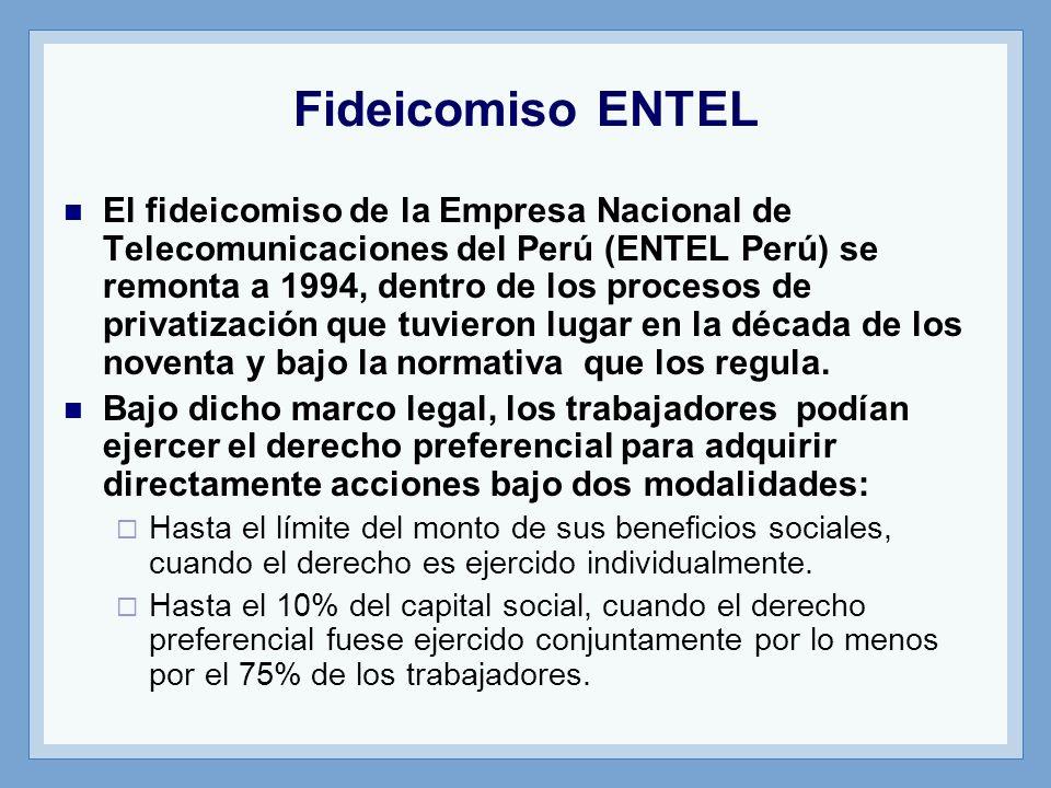 Fideicomiso ENTEL El fideicomiso de la Empresa Nacional de Telecomunicaciones del Perú (ENTEL Perú) se remonta a 1994, dentro de los procesos de priva