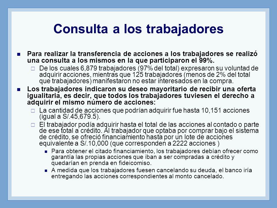 Consulta a los trabajadores Para realizar la transferencia de acciones a los trabajadores se realizó una consulta a los mismos en la que participaron