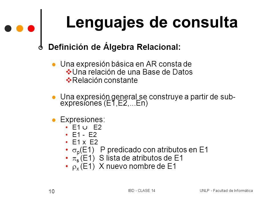 UNLP - Facultad de InformáticaIBD - CLASE 14 10 Lenguajes de consulta Definición de Álgebra Relacional: Una expresión básica en AR consta de Una relac