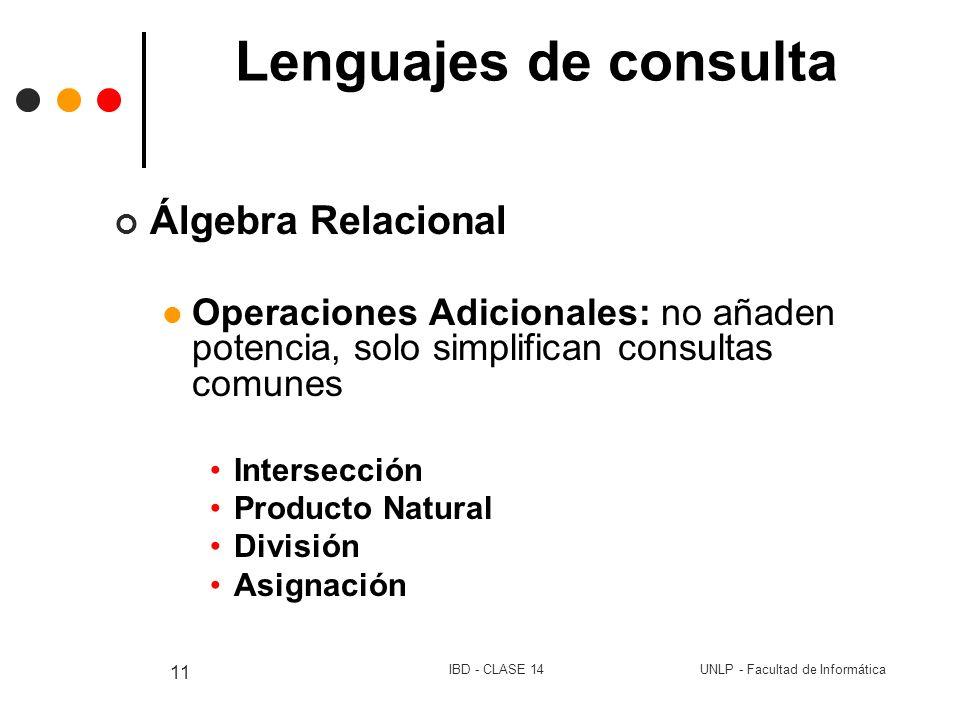 UNLP - Facultad de InformáticaIBD - CLASE 14 11 Lenguajes de consulta Álgebra Relacional Operaciones Adicionales: no añaden potencia, solo simplifican